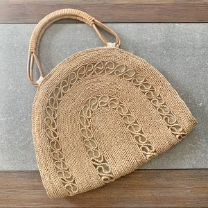 VINTAGE Halfmoon Wicker Rattan Tote Bag Purse